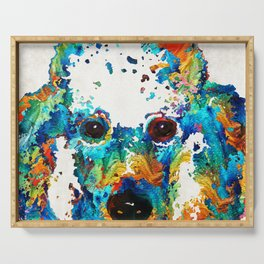 Colorful Poodle Dog Art by Sharon Cummings Serving Tray