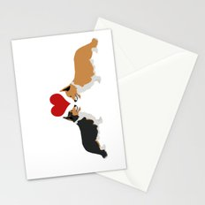 Pembroke Welsh Corgi Dogs Art - two corgis in love Stationery Cards