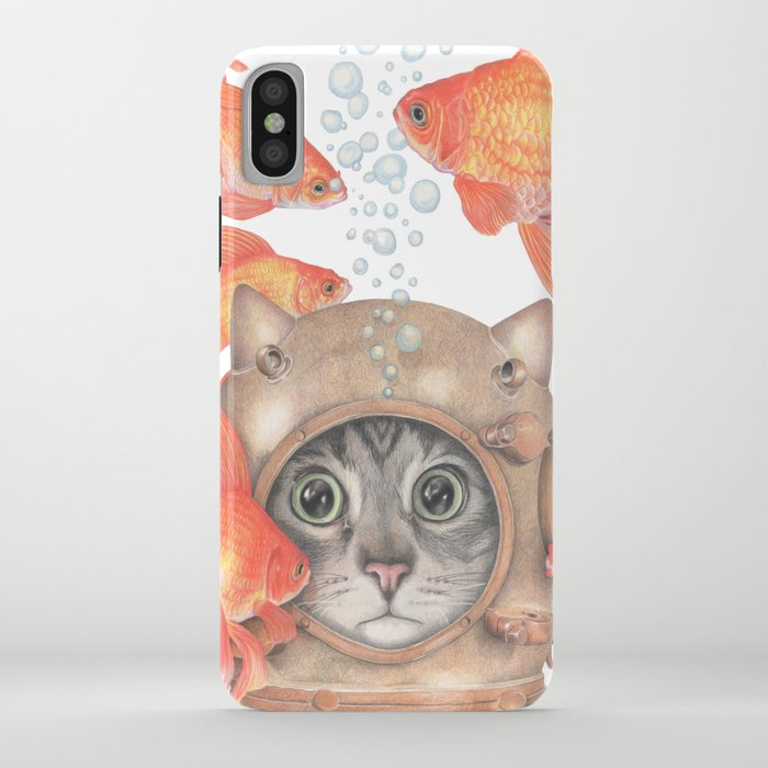 scuba cat among the fishes iphone case