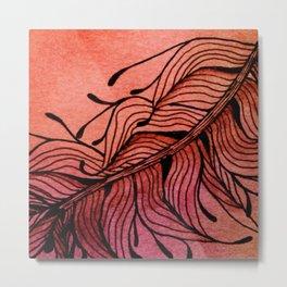 Doodled Autumn Feather 01 Metal Print