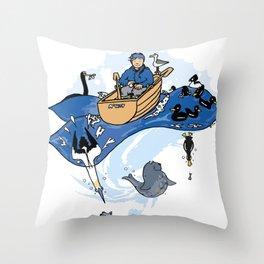 Bobbin' along the surf Throw Pillow