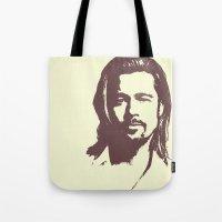 brad pitt Tote Bags featuring Brad Pitt :) by Dora Birgis