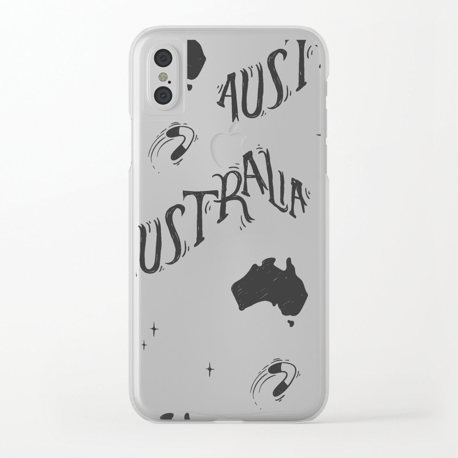 Clear Map Of Australia.Australia Map Typo Doodle Clear Iphone Case