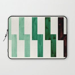 Teal Aquamarine Green Watercolor Gouache Geometric Pattern Zig Zag Lightning Bolt Shaped Mid Century Laptop Sleeve