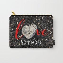 """""""Love You More"""" Hawaii Beach with Coral Heart Photo Carry-All Pouch"""