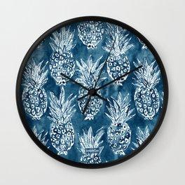 PINEAPPLE STANCE Indigo Boho Watercolor Wall Clock