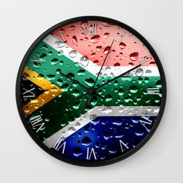 Flag of South Africa - Raindrops Wall Clock