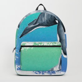 Orca Whale Blue Teal Crystal Backpack