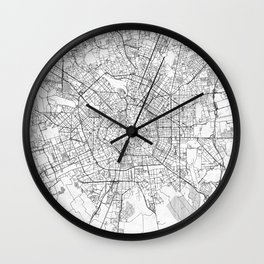 Milan Map Line Wall Clock