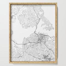 Auckland White Map Serving Tray