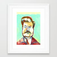 ron swanson Framed Art Prints featuring Ron Swanson by Mike Freiheit