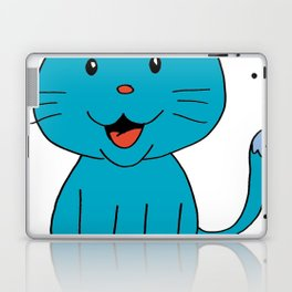 cat light blue Laptop & iPad Skin