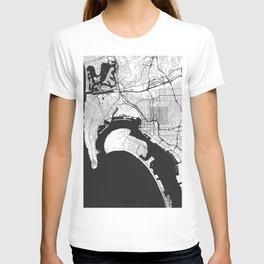 San Diego Map Gray T-shirt