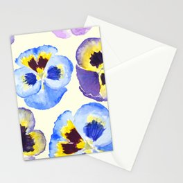 pansies pattern watercolor painting Stationery Cards