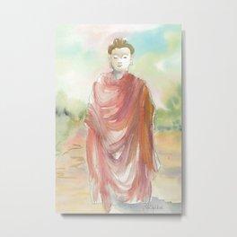 Buddha Walking Metal Print