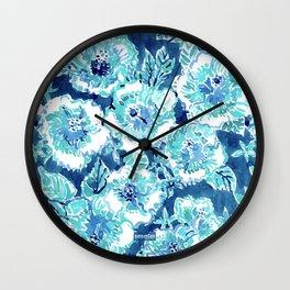 HIBISCUS BOUNTY Blue Tropical Watercolor Wall Clock