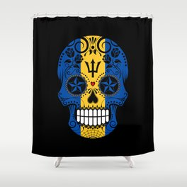Sugar Skull with Roses and Flag of Barbados Shower Curtain