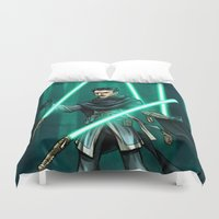 tesla Duvet Covers featuring Tesla - Jedi Consular by Salty!