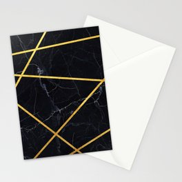 Black marble with gold lines Stationery Cards