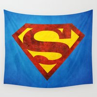 superman Wall Tapestries featuring Superman by S.Levis