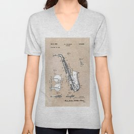 patent art Gillespie Saxophone 1945 Unisex V-Neck
