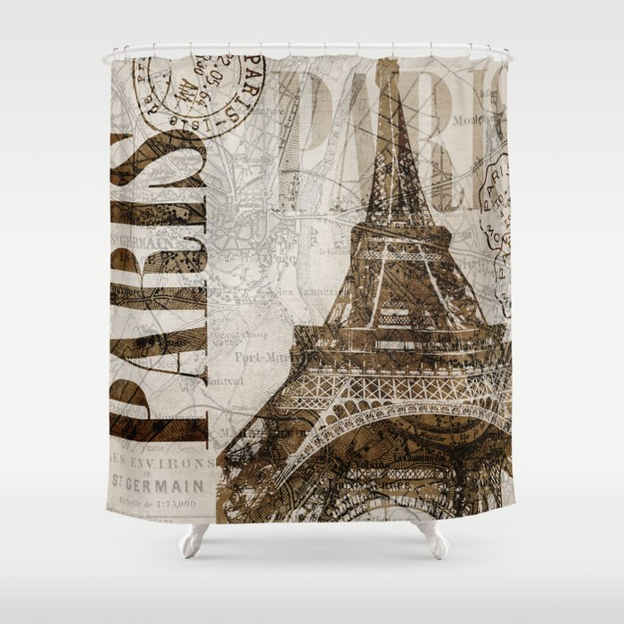 Vintage Paris Eiffel Tower Illustration Shower Curtain