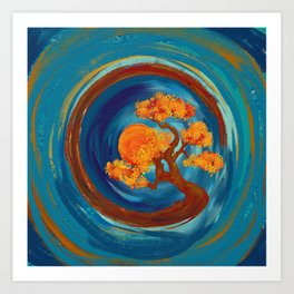 Enso Zen Circle and Bonsai Tree - impasto Art Print