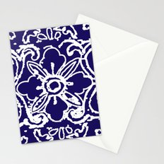 Tibetan Flower Modern Abstract Navy Blue Stationery Cards