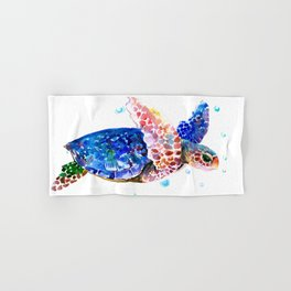 Sea Turtle, blue rainbow Hand & Bath Towel
