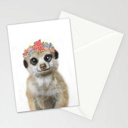 Meercat wirh flower crown Stationery Cards