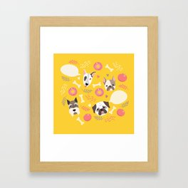 Cute dog illustration color card with cloud place for your text Framed Art Print