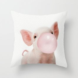 Bubble Gum Baby Pig Throw Pillow