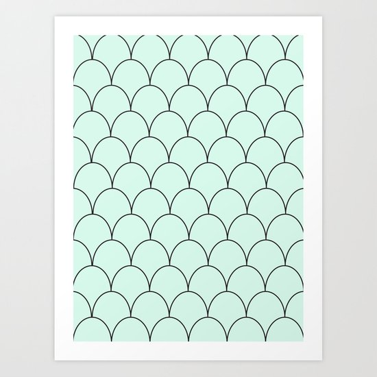 mint & black half circles Art Print