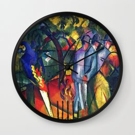 Hyacinth Macaw and Zoological Garden by August Macke Wall Clock