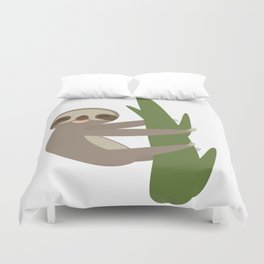 Three-toed sloth on green branch on white background Duvet Cover