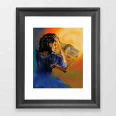 GIRL READING A BOOK Framed Art Print
