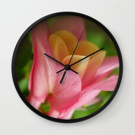 Pink and Yellow Columbine Wall Clock