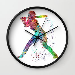 Baseball Softball Player Sports Art Print Watercolor Print Girl's softball Wall Clock