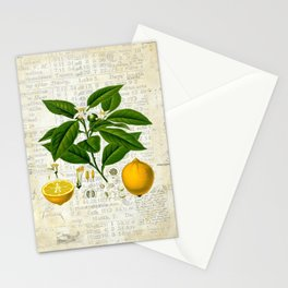 Lemon Botanical print on antique almanac collage Stationery Cards