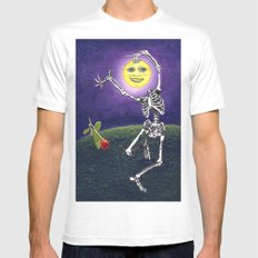 Skeleton Moon MEDIUM Mens Fitted Tee White