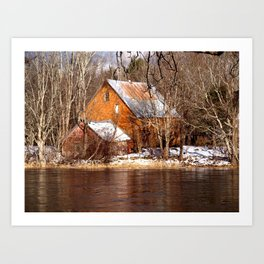 Country Barns on the Medway River, Mill Village, Nova Scotia Art Print