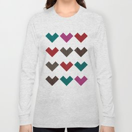 leather geometric love on white Long Sleeve T-shirt