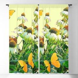 GOLDEN BUTTERFLIES  WHITE CONE FLOWER YELLOW GARDEN Blackout Curtain