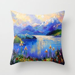 Flowers on the shore of a mountain lake Throw Pillow