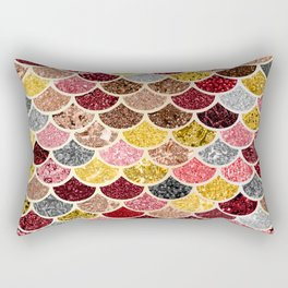 Glitter Gold, Pink and Red Mermaid Scales Pattern Rectangular Pillow