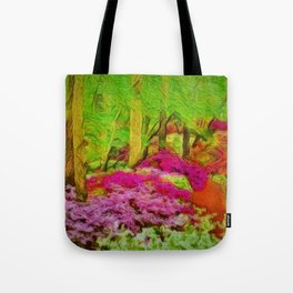 'Alone in Twilight with Rhododendrons' landscape painting by Jeanpaul Ferro Tote Bag