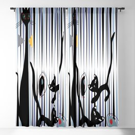 Mid-Century Modern Art - Cat & Kittens Blackout Curtain