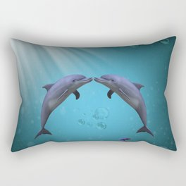 dolphins love Rectangular Pillow