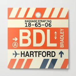 BDL Hartford • Airport Code and Vintage Baggage Tag Design Metal Print