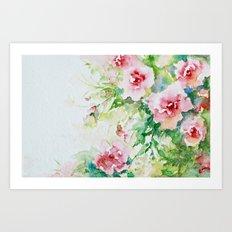 Cascading Flowers -Landscape- Watercolors Art Print